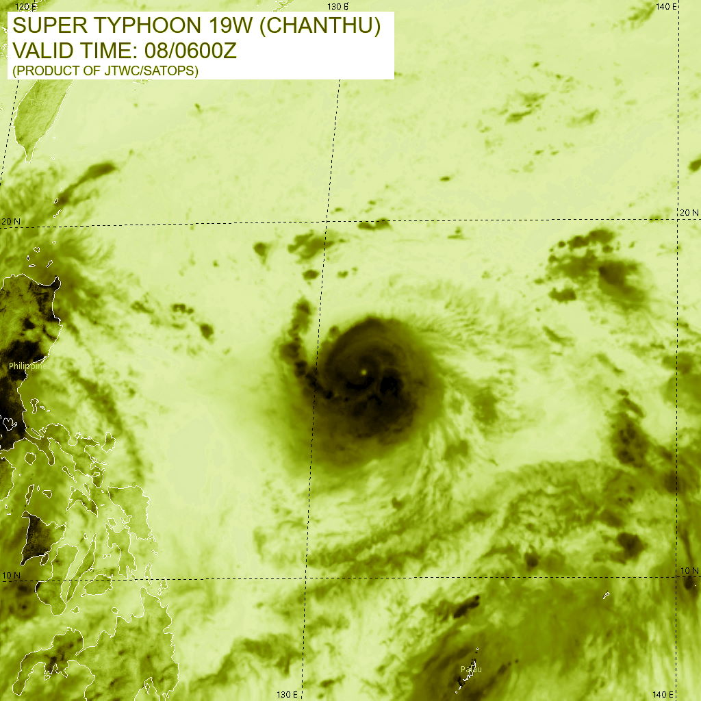 STY 19W(CHANTHU). SATELLITE ANALYSIS, INITIAL POSITION AND INTENSITY DISCUSSION: ANIMATED MULTISPECTRAL SATELLITE IMAGERY (MSI) INDICATES THAT SUPER TYPHOON CHANTHU HAS CONTINUED TO INTENSIFY OVER THE PAST SIX HOURS, WITH A VERY COMPACT CORE OF INTENSE CONVECTION WRAPPING INTO A 9KM PINHOLE EYE. THERE IS HIGH CONFIDENCE IN THE INITIAL POSITION BASED ON THE PINHOLE EYE AND AN EXTRAPOLATION OF A 080433Z AMSR2 89GHZ MICROWAVE IMAGE WHICH SHOWED THE PINHOLE EYE SURROUNDED BY A CORE OF INTENSE CONVECTION AS WELL A MOAT REGION AND ANOTHER BAND OF STRONG CONVECTION WHICH IS LIKELY THE FIRST SIGN OF A DEVELOPING SECONDARY EYEWALL. AN EYEWALL REPLACEMENT CYCLE (EWRC) IS EXPECTED TO BEGIN IMMINENTLY. OBJECTIVE DVORAK ESTIMATES ARE STRUGGLING TO PROPERLY ASSESS THE INTENSITY OF STY 19W DUE TO EXTREMELY SMALL EYE, THE ADT AT TIMES SWITCHING TO EMBEDDED CENTER TECHNIQUE AS IT STRUGGLES TO MAINTAIN TRACK ON THE EYE. SUBJECTIVE ESTIMATES ARE ALSO STRUGGLING TO PROVIDE CONSISTENT AND ACCURATE INTENSITY ESTIMATES, AS THE RESOLUTION OF AVAILABLE INFRARED IMAGERY IS SUCH THAT THE EYE TEMPERATURE MEASUREMENTS ARE SHOWING WILD SWINGS FROM AS HIGH AS 16C TO AS LOW AS -48C. ADDITIONALLY, A STRONG INNER-CORE LIGHTNING BURST WAS OBSERVED BETWEEN 0200Z AND 0600Z, WHICH COULD ALSO SUPPORT A PERIOD OF INTENSIFICATION LEADING UP TO THE 0600Z INTENSITY. THE INITIAL INTENSITY HAS BEEN INCREASED TO 140 KNOTS/CAT 5 BASED PRIMARILY ON AN EXTRAPOLATION OF AN UNOFFICIAL INTENSITY ESTIMATE OF T7.0 OBTAINED AT 0310Z USING THE ADT EYE TEMP OF 16C AND COMPARING THE OVERALL STRUCTURE AT THAT TIME TO THE STRUCTURE AT 0600Z, WHICH HAD DEPICTED AN EVEN SMALLER EYE AND COLDER CLOUD TEMPERATURES, THE LIGHTNING BURST AND ASSESSMENT OF THE AMSR2 MICROWAVE DATA. THUS THE LOW CONFIDENCE INTENSITY IS WELL ABOVE ALL AVAILABLE FIX ESTIMATES. STY 19W IS TRACKING WEST-SOUTHWEST IN A HIGHLY FAVORABLE ENVIRONMENT OF LOW NORTHERLY VWS, GOOD RADIAL OUTFLOW AND WARM SST, HIGH OHC WATERS.