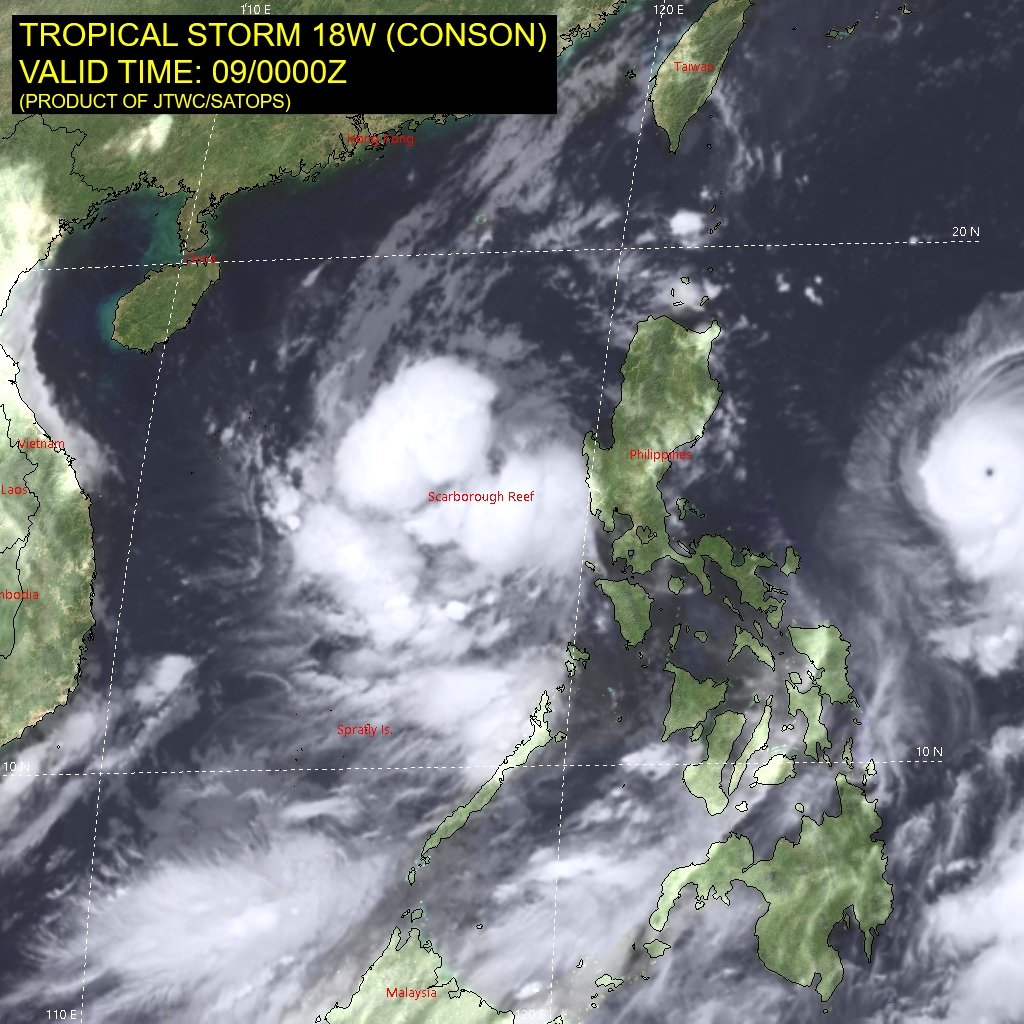 TS 18W(CONSON).SATELLITE ANALYSIS, INITIAL POSITION AND INTENSITY DISCUSSION: ANIMATED MULTISPECTRAL SATELLITE IMAGERY (MSI) SHOWS A DISORGANIZED SYSTEM WITH FRAGMENTED FEEDER BANDS THAT IS STRUGGLING TO CONSOLIDATE AFTER IT CROSSED THE PHILIPPINE ARCHIPELAGO AND EXITED INTO THE SOUTH CHINA SEA. THE INITIAL POSITION IS PLACED WITH MEDIUM CONFIDENCE USING LOW CLOUD TRACING IN THE MSI LOOP AND LINED UP WITH A WEAK LOW LEVEL NOTCH FEATURE IN THE 082256Z AMSU-B MICROWAVE IMAGE. THE INITIAL INTENSITY IS ASSIGNED WITH MEDIUM CONFIDENCE BASED ON THE HIGH END OF AGENCY AND AUTOMATED DVORAK ESTIMATES AND REFLECTS THE SUSTAINED 6-HR CONVECTIVE SIGNATURE. ANALYSIS INDICATES A MARGINALLY FAVORABLE ENVIRONMENT WITH LOW VERTICAL WIND SHEAR AND WARM SSTS OFFSET BY WEAK UPPER LEVEL OUTFLOW. THE CYCLONE IS TRACKING ALONG THE SOUTHERN PERIPHERY OF THE STR TO THE NORTHEAST.
