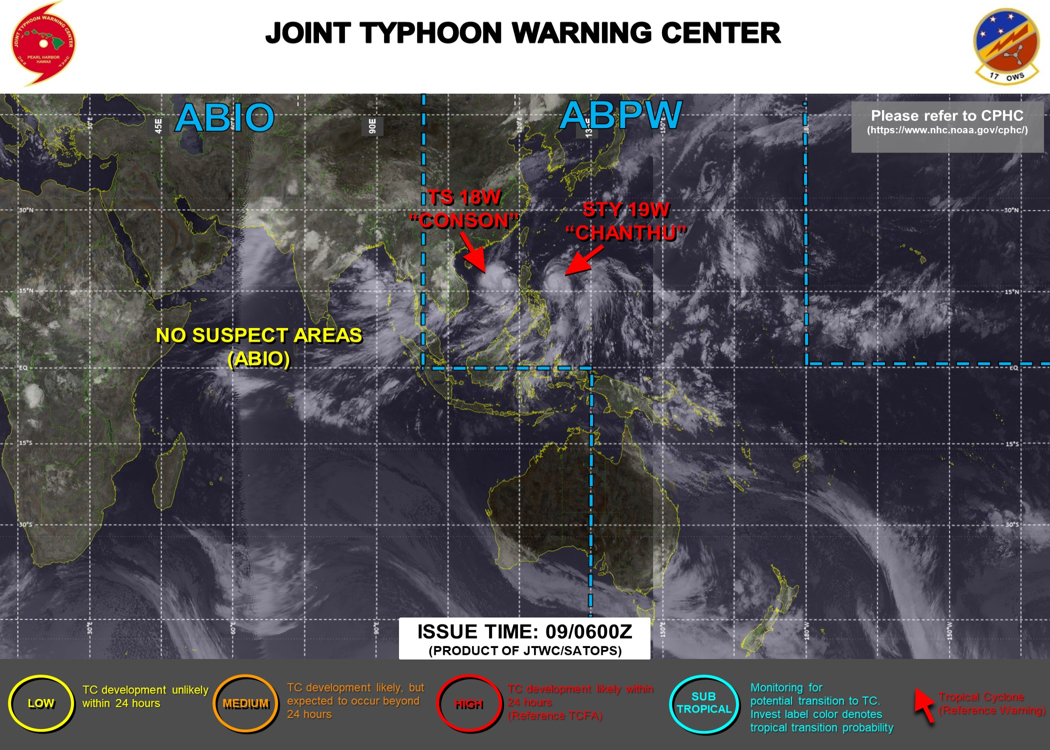 Western Pacific: 18W(CONSON) gaining strength over South China Sea/Super Typhoon 19W(CHANTHU) back at CAT 5 over the Philippine Sea,EPacific & Atlantic updates,09/03utc