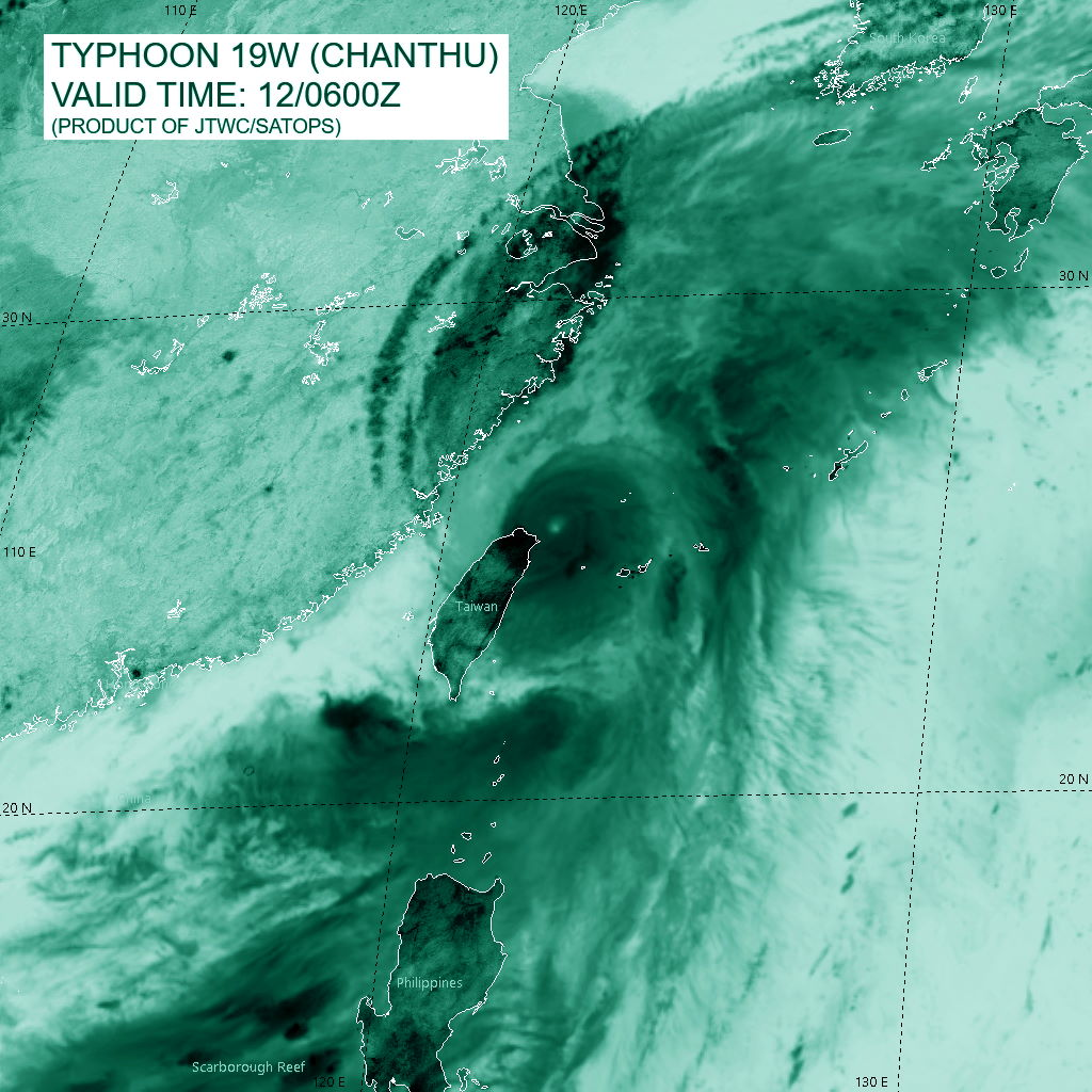 TY 19W(CHANTHU). SATELLITE ANALYSIS, INITIAL POSITION AND INTENSITY DISCUSSION: TY 19W APPEARS TO HAVE COMPLETED ANOTHER EYEWALL REPLACEMENT CYCLE (ERC) BASED ON THE SINGLE EYEWALL EVIDENT IN A PARTIAL 120650Z GMI 89GHZ MICROWAVE IMAGE. THE VISIBLE AND INFRARED EYE BY 0600Z HAD SHRUNK DOWN TO APPROXIMATELY 19-KM ONCE AGAIN. ANIMATED RADAR IMAGERY DEPICTED A SMALL CORE OF INTENSE CONVECTION AND A WELL DEFINED EYE. HOWEVER, BY THE 0600Z HOUR, INFRARED IMAGERY REVEALED WEAKENING CONVECTION AS EVIDENCED BY WARMING CLOUD TOP TEMPERATURES AND THE RADAR EYE WAS SHOWING SIGNS OF BECOMING INCREASINGLY RAGGED. THE CENTER OF TY 19W HAD TRACKED IN A SHALLOW ARC TO THE EAST BETWEEN 0000Z AND 0600Z, HOWEVER THE TRACK MADE GOOD OVER THAT TIME WAS DUE NORTH FROM THE PREVIOUS POSITION. THE INITIAL POSITION WAS ASSESSED WITH HIGH CONFIDENCE BASED ON THE MSI AND RADAR DATA. THE INITIAL INTENSITY WAS ASSESSED WITH MEDIUM CONFIDENCE BASED ON THE PGTW AND KNES CURRENT INTENSITY ESTIMATES BETWEEN 5.5-6.0 AND THE ADT ESTIMATE. RJTD DATA-T NUMBERS ARE 5.5 (102 KTS), WHILE THE CURRENT INTENSITY REMAINS HELD CONSERVATIVELY HIGH AT 6.5 (127 KTS). THE SYSTEM IS MOVING NORTHWARD THROUGH A GENERALLY FAVORABLE ENVIRONMENT WITH LOW VERTICAL WIND SHEAR AND ROBUST POLEWARD AND EQUATORWARD OUTFLOW CHANNELS. WHILE SSTS REMAIN WARM (28-29C), THE SYSTEM IS CURRENTLY MOVING INTO AN EDDY OF LOW OHC WATERS NORTHEAST OF TAIWAN.