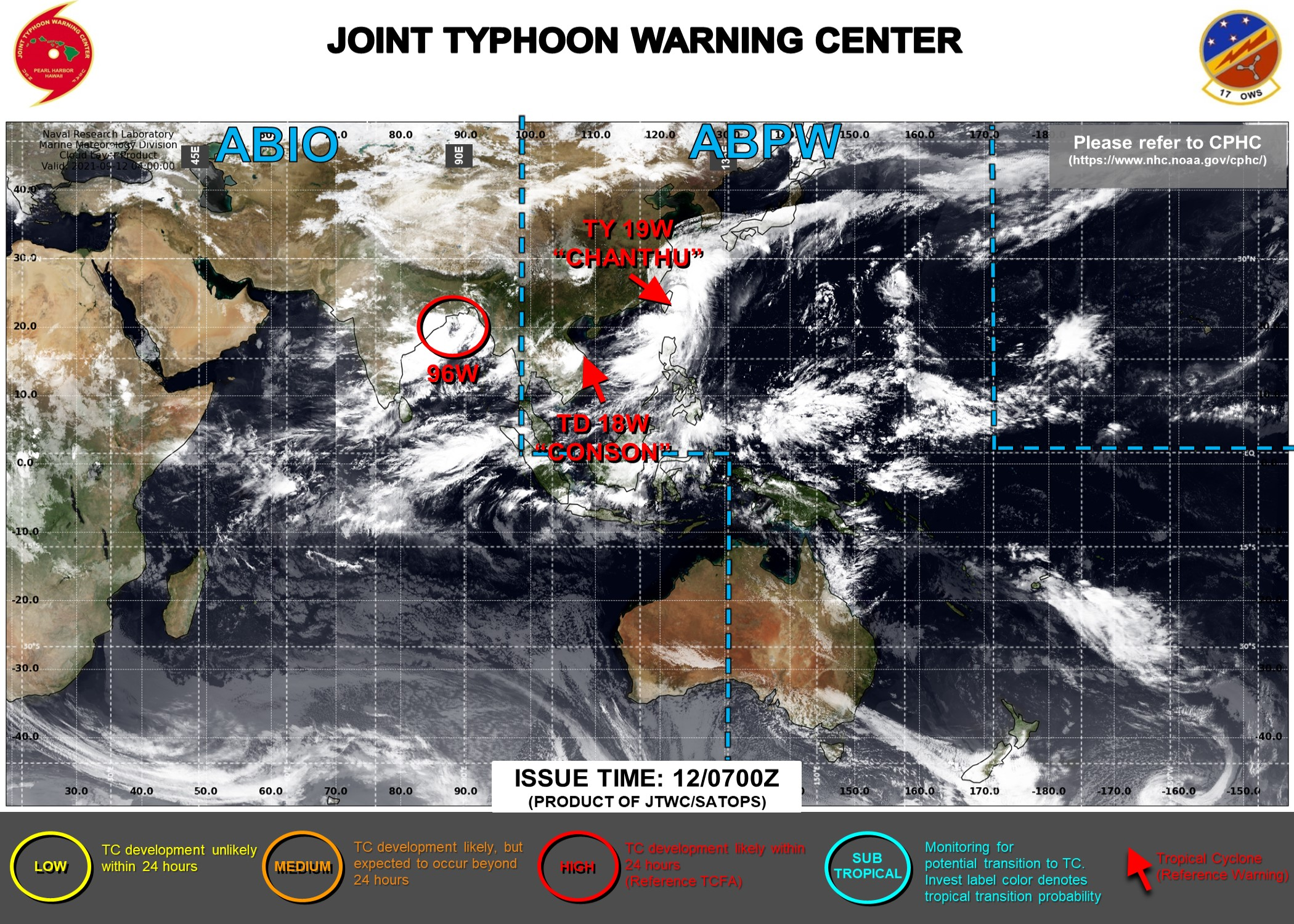 JTWC ARE ISSUING 6HOURLY WARNINGS AND 3HOURLY SATELLITE BULLETINS ON 18W AND 19W. 95B WAS UP-GRADED TO HIGH AT 12/07UTC.