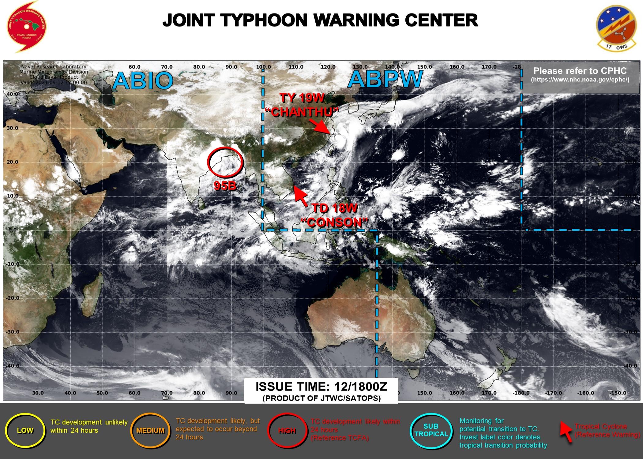 Western Pacific: 19W(CHANTHU) CAT 2 weakening gradually,18W(CONSON): final warning// Invest 95B: intensity near 35knots, 12/21utc updates