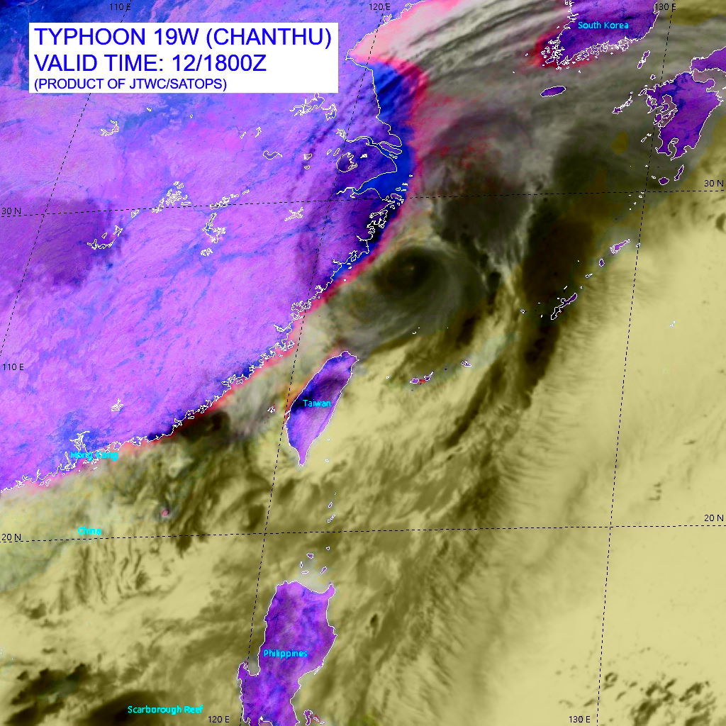 TY 19W(CHANTHU).SATELLITE ANALYSIS, INITIAL POSITION AND INTENSITY DISCUSSION: ANIMATED ENHANCED INFRARED (EIR) SATELLITE IMAGERY SHOWS THAT TY 19W HAS UNDERGONE SIGNIFICANT WEAKENING OVER THE PAST SIX HOURS, WITH CONVECTIVE CLOUD TOPS WARMING SIGNIFICANTLY AND THE EYE COOLING AND FILLING. HIGH RESOLUTION MODELING INDICATES DRY, DESCENDING AIR IS BEING ENTRAINED INTO THE SOUTHWESTERN SIDE OF THE SYSTEM. ADDITIONALLY, CIMSS SHEAR ANALYSIS REVEALS MODERATE SOUTHWESTERLY SHEAR IS NOW IMPINGING ON THE SYSTEM. FINALLY, OVER THE PAST SIX HOURS THE SYSTEM HAS MOVED OVER AN EDDY OF LOW OCEAN HEAT CONTENT. THE COMBINATION OF ALL THESE FACTORS HAS LED TO THE RAPID WEAKENING. ANIMATED RADAR IMAGERY DEPICTS THE DEVELOPMENT OF A MOAT OF WEAK RADAR RETURNS SURROUNDING A COMPACT CORE OF CONVECTION WHICH IS WRAPPING INTO THE ILL-DEFINED LOW LEVEL CIRCULATION CENTER (LLCC). THE INITIAL POSITION IS ASSESSED WITH HIGH CONFIDENCE BASED ON RJTD RADAR FIXES AND THE 19-KM RAGGED EYE IN THE EIR. THE INITIAL INTENSITY IS ASSESSED AT 95 KNOTS/CAT 2 WITH MEDIUM CONFIDENCE BASED ON A BLEND OF THE AGENCY CURRENT INTENSITY ESTIMATES BETWEEN 5.0-5.5. AGENCY DATA-T NUMBERS ARE MUCH LOWER, IN THE T4.5 (77 KTS) RANGE, WHILE THE ADT AND SATCON APPEAR UNREASONABLY HIGH BASED ON THE RAPIDLY DETERIORATING STRUCTURE. A 121106Z ASCAT-B PASS PROVIDED SOLID DATA TO DRAMATICALLY REDUCE THE SIZE OF THE WIND FIELD. ANALYSIS REVEALS AN INCREASINGLY MARGINAL ENVIRONMENT WITH INCREASING SOUTHWESTERLY SHEAR, DECREASING SSTS AND STEADILY DECREASING OUTFLOW ALOFT.