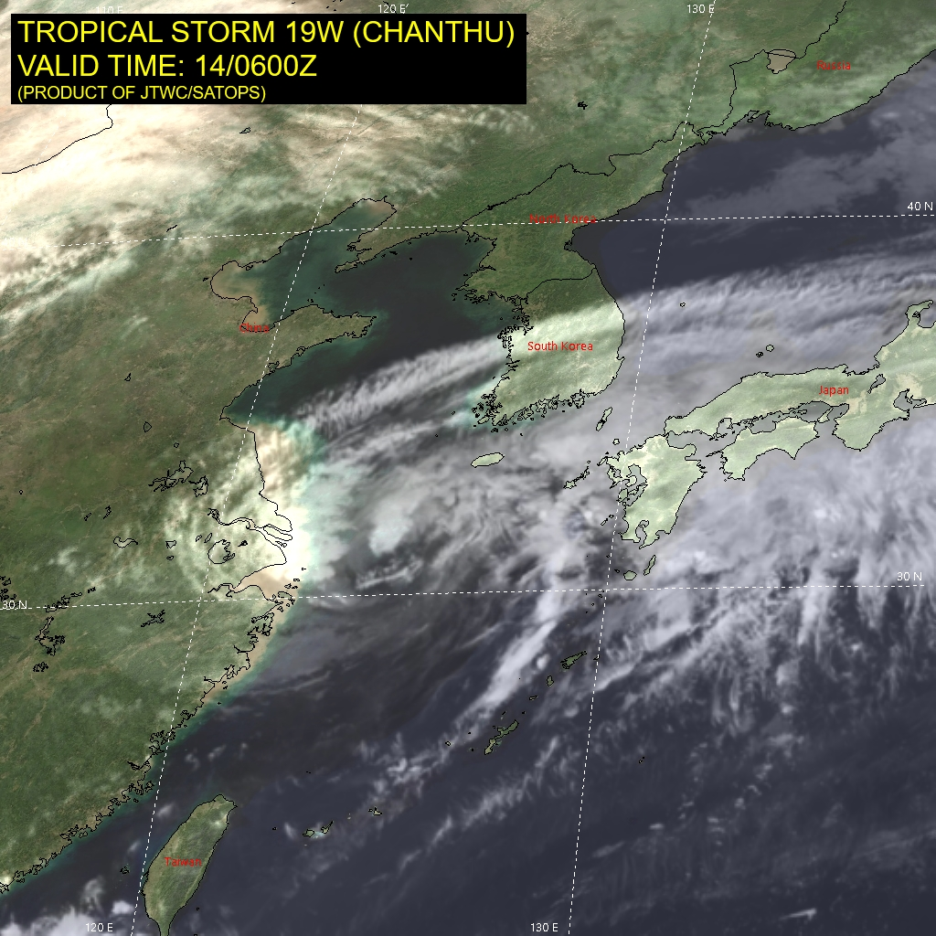 TS 19W(CHANTHU).SATELLITE ANALYSIS, INITIAL POSITION AND INTENSITY DISCUSSION: ANIMATED MULTISPECTRAL SATELLITE IMAGERY (MSI) DEPICTS A PARTIALLY EXPOSED LOW LEVEL CIRCULATION CENTER (LLCC), WITH THE REMAINING ASSOCIATED CONVECTION REMAINING TO THE NORTH AND WEST. THE INITIAL POSITION IS PLACED WITH HIGH CONFIDENCE BASED ON THE LLCC SEEN IN MSI. THE INITIAL INTENSITY OF 45 KNOTS IS ASSESSED WITH MEDIUM CONFIDENCE BASED ON A 140230Z METOP-B ASCAT PASS WHICH SHOWS PEAK WIND BARBS OF 40 KNOTS. THE OVERALL MARGINALLY UNFAVORABLE CONDITIONS, ARE DUE TO THE  LOW OCEAN HEAT CONTENT AND MEDIUM TO STRONG VERTICAL WIND SHEAR WHICH ARE OFFSET BY THE STRONG UPPER LEVEL DIVERGENCE DISPLACED TO THE EAST OF THE LLCC.