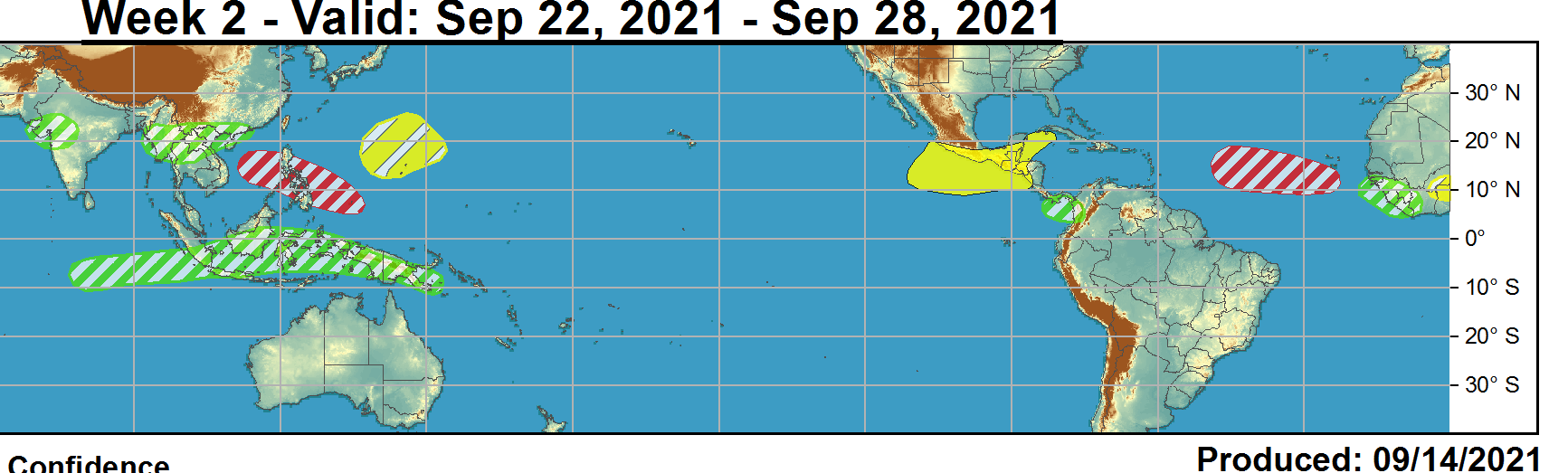 During Week-1, a tropical wave emerging off the western coast of Africa has a 90 percent chance of development according to the latest tropical weather outlook from the National Hurricane Center (NHC). Additionally, low pressure is anticipated to form north of the Bahamas during Week-1, with a 60 percent chance of formation through the next five days. This potential system will most likely remain offshore, but may bring some impacts to the coastal Carolinas as it tracks generally northward. Late in Week-1 or early Week-2 period, a second tropical wave is forecast to emerge from Africa and has a moderate potential for development. NOAA.