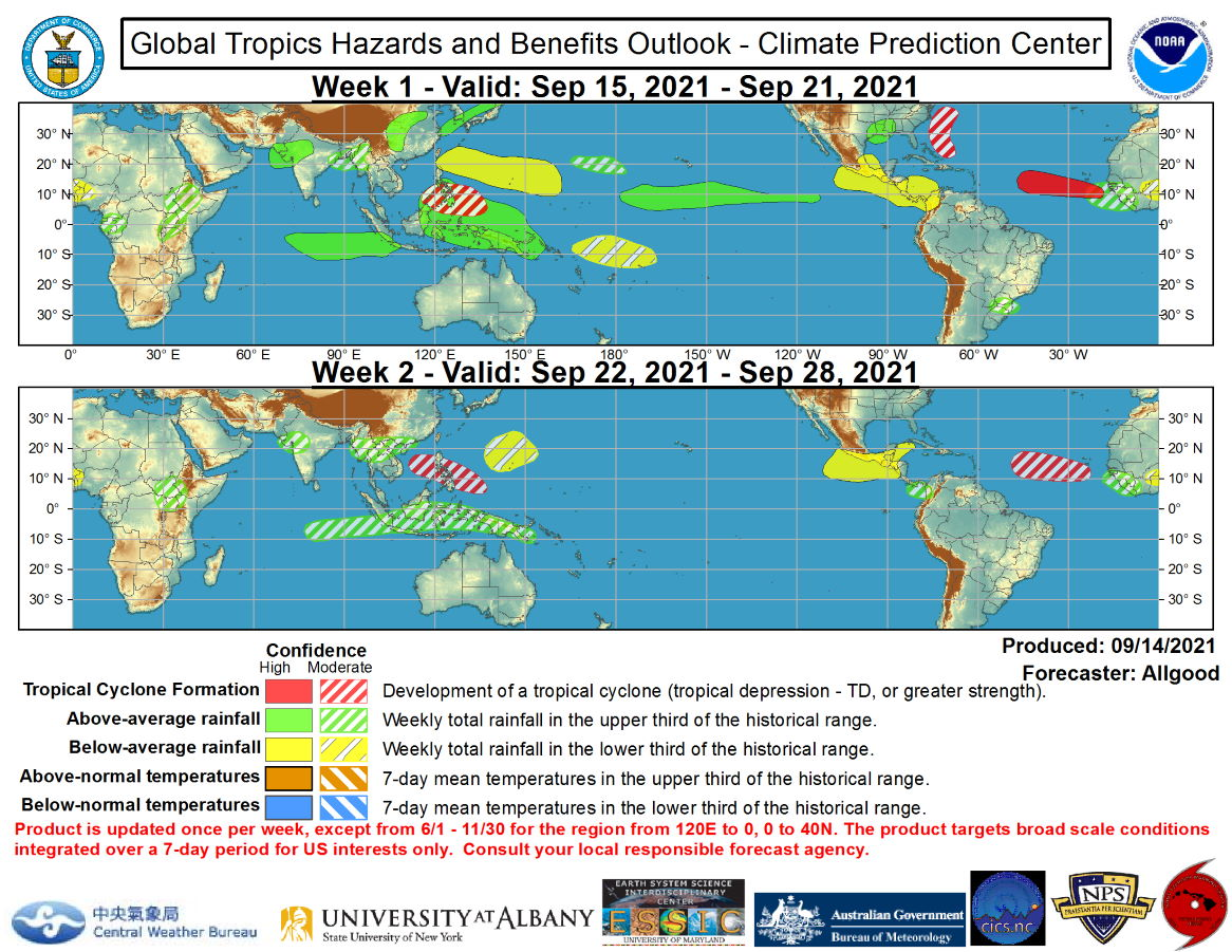 The precipitation outlook during the next two weeks is based on a consensus of GEFS, CFS, and ECMWF guidance, anticipated TC tracks including long-lived Typhoon Chanthu which is forecast to pass near South Korea and western Japan as a tropical storm over the next few days, and precipitation composites of past Indian Ocean and Maritime Continent MJO events for Week-1. The strongest precipitation signals favor enhanced (suppressed) convection across the equatorial Maritime Continent (vicinity of Central America) during both Week-1 and Week-2. Model solutions for precipitation diverge considerably during Week-2. For hazardous weather concerns during the next two weeks across the U.S., please refer to your local NWS Forecast Office, the Weather Prediction Center's Medium Range Hazards Forecast, and CPC's Week-2 Hazards Outlook. Forecasts over Africa are made in consultation with the International Desk at CPC and can represent local-scale conditions in addition to global scale variability.NOAA.