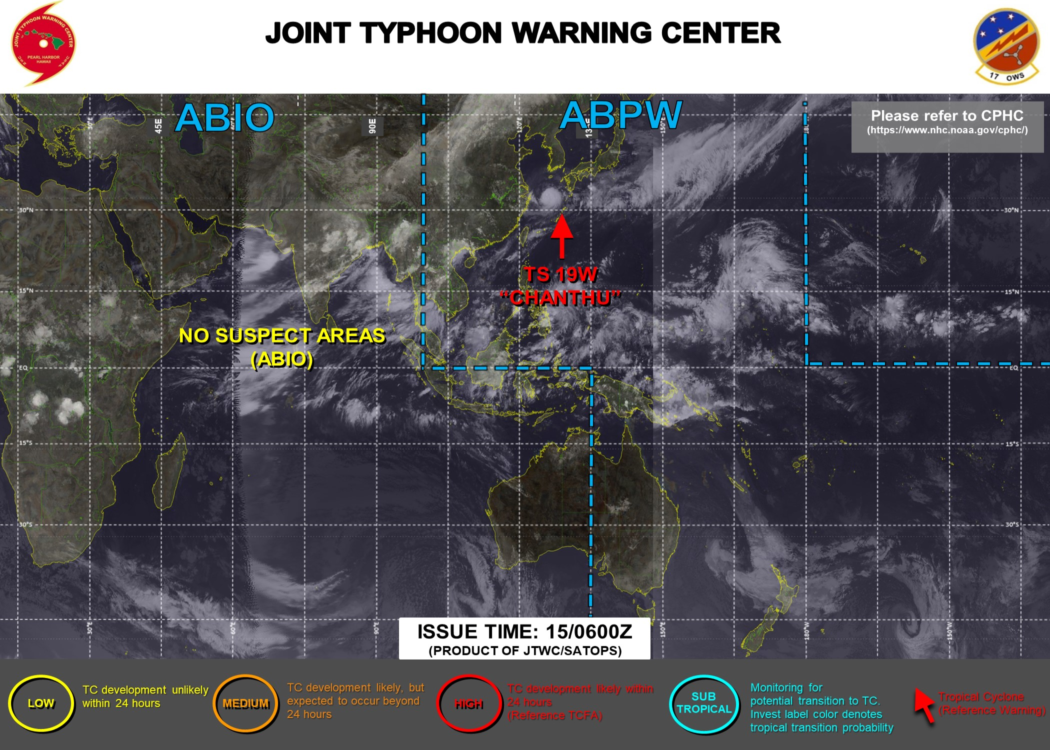 Western Pacific: TS 19W(CHANTHU) still there and likely to re-intensify a bit//Atlantic: Tropical Cyclone Formation Alert, 15/09utc updates