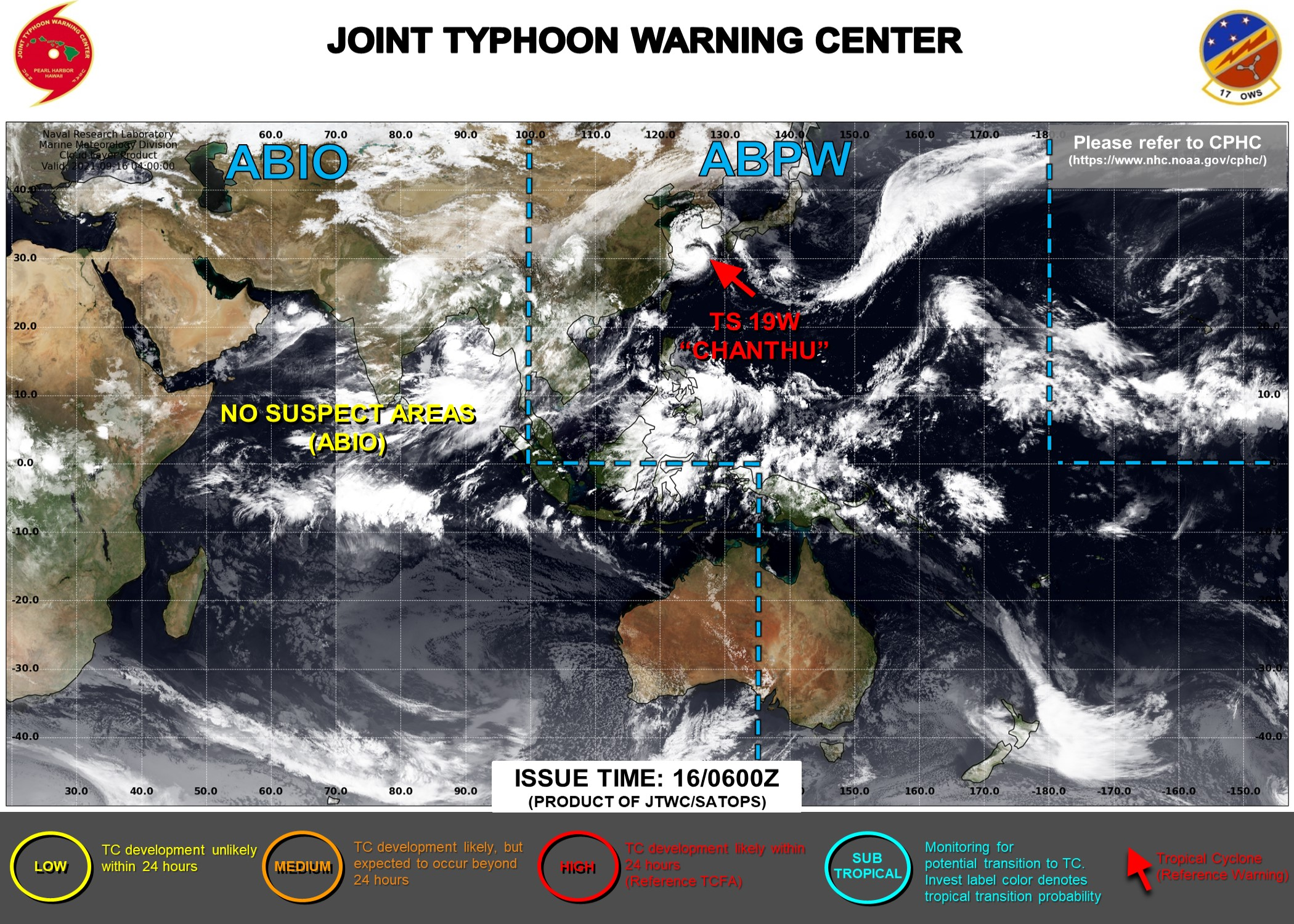 Western Pacific: 19W(CHANTHU) intensity is forecast to peak near Typhoon level//Atlantic: 2 Tropical Cyclone Formation Alerts,16/09utc