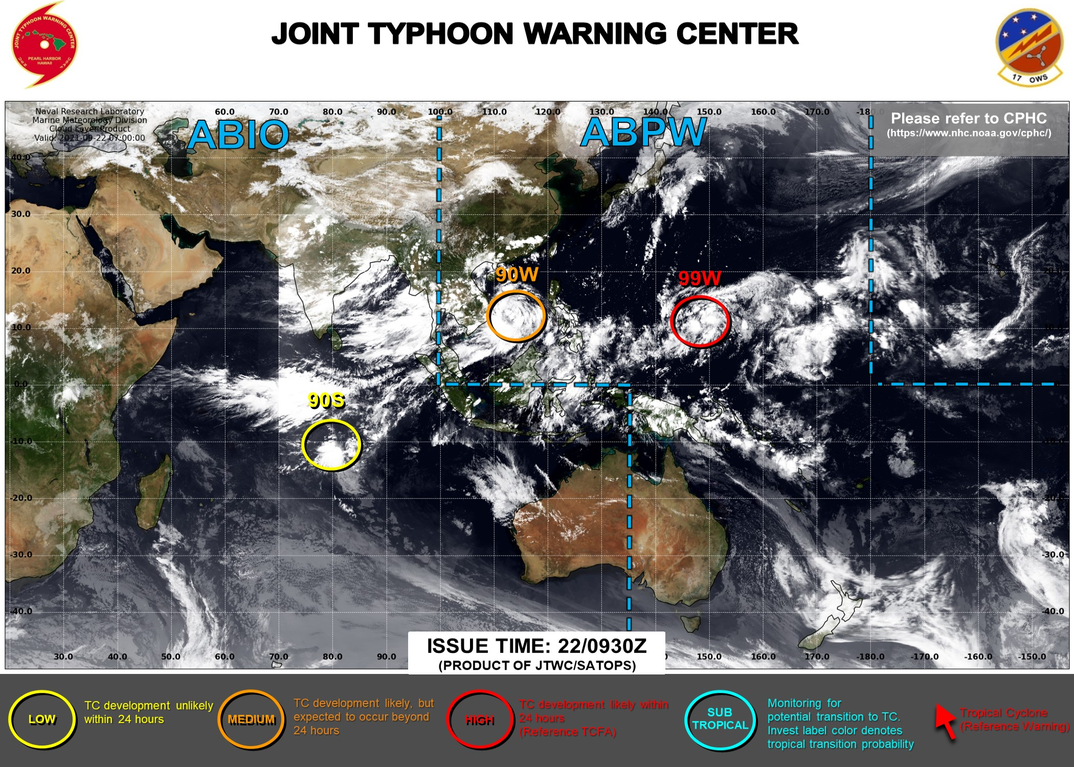 Western Pacific: 99W is High, 90W up-graded to Medium//South Indian: 90S down-graded to Low//Atlantic: still active with 16L,17L and 98L, 22/09utc updates