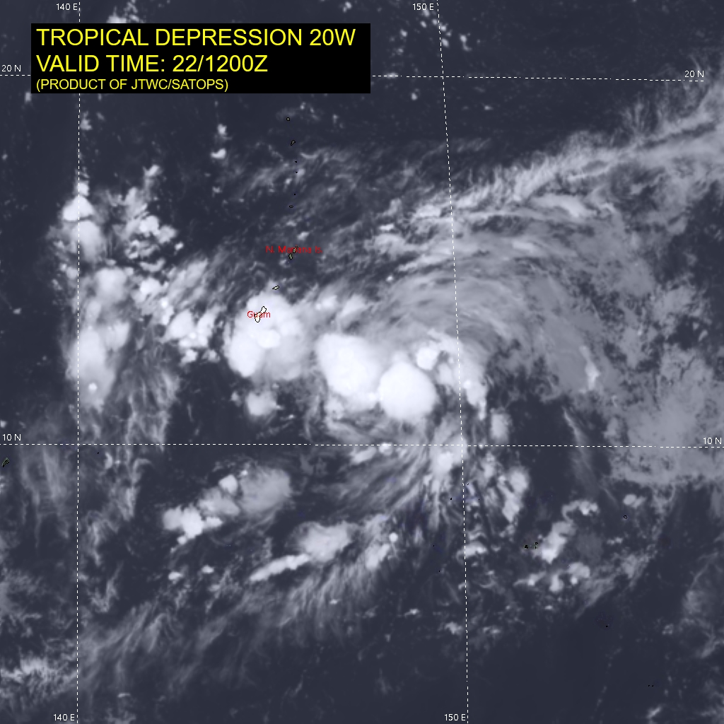 SATELLITE ANALYSIS, INITIAL POSITION AND INTENSITY DISCUSSION: ANIMATED ENHANCED INFRARED (EIR) SATELLITE IMAGERY DEPICTS A BROAD AND STILL SOMEWHAT ELONGATED, BUT QUICKLY CONSOLIDATING LOW LEVEL CIRCULATION CENTER (LLCC). AN AREA OF SYMMETRICAL DEEP CONVECTIVE ACTIVITY HAS RAPIDLY DEVELOPED OVER THE PAST SIX HOURS OVER THE ASSESSED LLCC, THOUGH AS OF YET, THERE ARE NO SIGNS IN THE EIR OF THE DEVELOPMENT OF DISTINCT BANDING FEATURES. A PARTIAL 220758Z SSMIS 89GHZ MICROWAVE IMAGE INDICATED FORMATIVE AND FRAGMENTED LOW LEVEL BANDS ABOUT 90KM OUT FROM THE CENTER, PARTICULARLY TO THE NORTHEAST. THE INITIAL POSITION IS ASSESSED TO THE NORTH OF ALL AGENCY FIXES EXCEPT RJTD, WITH LOW CONFIDENCE DUE TO THE OBSCURED LLCC IN THE EIR AND THE LACK OF RECENT MICROWAVE OR SCATTEROMETER DATA. THE INITIAL INTENSITY IS ASSESSED AT 25 KNOTS WITH MEDIUM CONFIDENCE, ON THE LOWER END OF THE PGTW AND KNES INTENSITY ESTIMATES BETWEEN T1.5-T2.0 (25-30 KNOTS). TD 20W IS IN A HIGHLY FAVORABLE ENVIRONMENT CHARACTERIZED BY VERY WARM (30-31C), HIGH OHC WATERS, AND LOW (5 KNOTS OR LESS) VWS. WHILE UPPER-LEVEL OUTFLOW IS ASSESSED AS STRONG BOTH POLEWARD AND EQUATORWARD, IT IS SOMEWHAT CONSTRAINED TO POLEWARD BY THE PRESENCE OF A SHARP, EAST-WEST ORIENTED TUTT THAT LIES ROUGHLY ALONG THE 20TH PARALLEL.