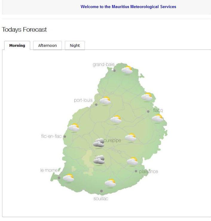 Bulletin prévision - Maurice  COMMUNIQUÉ DE LA MÉTÉO POUR MAURICE ÉMIS À 04H30 CE SAMEDI 02 OCTOBRE 2021.     SITUATION GÉNÉRALE:  Un vent modéré souffle sur notre région.     PRÉVISIONS POUR LES PROCHAINES 24 HEURES:  Beau temps ce matin et dans l'après-midi.     La température maximale variera entre 22 et 24 degrés Celsius sur le plateau central et entre 26 et 29 degrés Celsius sur le littoral.     Ciel mi-couvert à nuageux dans la soirée et durant la nuit avec quelques ondées sur les hauteurs.     La température minimale variera entre 16 et 18 degrés Celsius sur le plateau central et entre 20 et 22 degrés Celsius sur les régions côtières.     Vent de l'Est Sud Est d'environ 20 km/h avec des pointes de 50 km/h aux endroits exposés.     Mer agitée au-delà des récifs avec des houles du secteur Sud de l'ordre de 2 mètres.     Marées Hautes : 11h39 et 22h42.  Marées Basses : 17h25 et demain 05h14.     Lever du soleil       : 05h49.  Coucher du soleil : 18h08.     La pression atmosphérique à 04h00 : 1019 hectoPascals.
