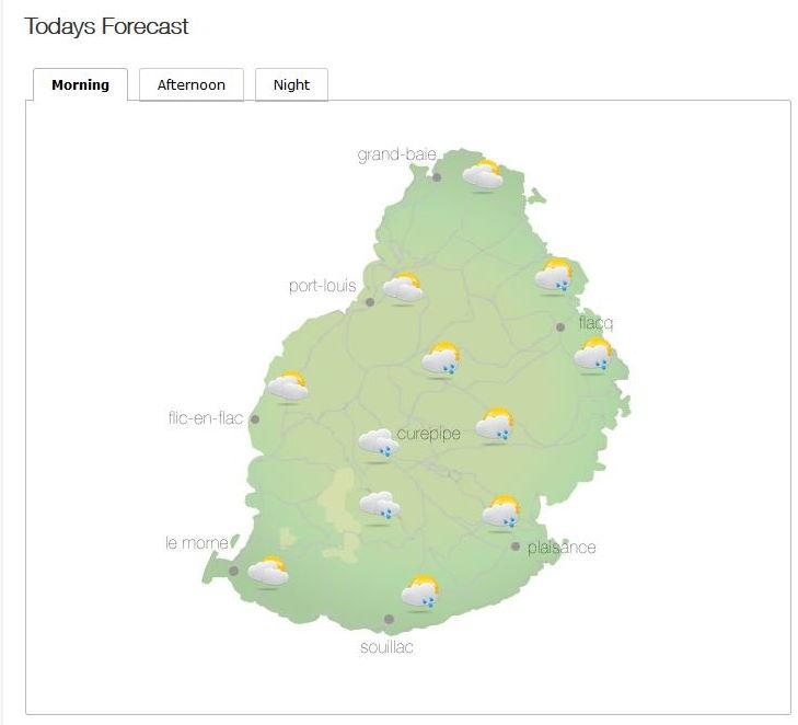 Bulletin prévision - Maurice  COMMUNIQUÉ DE LA MÉTÉO POUR MAURICE ÉMIS À 04H30 CE MARDI 05 OCTOBRE 2021.   SITUATION GÉNÉRALE:     Notre région demeure sous l'influence d'un courant d'air perturbé.     PRÉVISIONS POUR LES PROCHAINES 24 HEURES:  Mi-couvert ce matin devenant parfois nuageux sur la moitié Est de l'île et sur le plateau  central avec des averses.     Les averses déborderont dans les autres secteurs dans l'après-midi et seront  d'intensité modéré par moment.  Des poches de brouillard sont aussi attendues dans certaines régions en hauteur.     La température maximale variera entre 22 et 24 degrés Celsius sur le plateau central  et entre 26 et 29 degrés Celsius sur le littoral.     Les averses deviendront moins fréquentes durant la nuit.     La température minimale variera entre 16 et 18 degrés Celsius sur le plateau central  et entre 20 et 22 degrés Celsius sur les régions côtières.     Le vent soufflera du secteur Est à environ 15 km/h, se renforçant sous les averses.     Mer agitée au-delà des récifs avec des vagues de l'ordre de 2 mètres.     Marées Hautes : 12h24 et demain 00h22.  Marées Basses : 06h06 et 18h36.     Lever du soleil       : 05h47.  Coucher du soleil : 18h09.     La pression atmosphérique à 04h00 : 1017 hectoPascals.MMS/VACOAS.