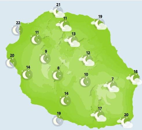 ILES SOEURS: Mardi 05 Octobre 2021: cartes de prévisions et animation satellite pour MAURICE et la RÉUNION