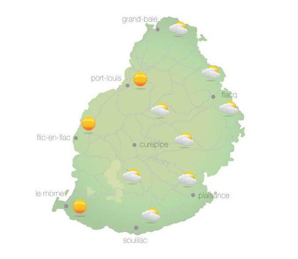 Bulletin prévision - Maurice  COMMUNIQUÉ DE LA MÉTÉO POUR MAURICE ÉMIS À 04H30 CE MERCREDI 06 OCTOBRE 2021.     SITUATION GÉNÉRALE:   Un courant d'air léger circule sur notre région.   PRÉVISIONS POUR LES PROCHAINES 24 HEURES:   Beau temps ce matin. Des développement nuageux sont attendus dans l'après-midi sur la partie Sud de l'île et sur le plateau central avec des averses localisées. Ces averses pourraient déborder à l'Est en fin d'après-midi. La température maximale variera entre 23 et 25 degrés Celsius sur le plateau central et entre 27 et 30 degrés Celsius sur le littoral.  Nuageux dans la soirée avec des ondées isolées sur les hauteurs. Le ciel s'éclaircira graduellement cette nuit. La température minimale variera entre 16 et 18 degrés Celsius sur le plateau central et entre 20 et 22 degrés Celsius sur les régions côtières.  Vent léger et variable ce matin, soufflant de l'Est Nord Est d'environ 15 km/h au cours de la journée. Mer agitée au-delà des récifs avec des vagues de l'ordre de 2 mètres.     Marées Hautes : 12h45 et demain 00h58.  Marées Basses : 06h35 et 19h06.     Lever du soleil       : 05h46.  Coucher du soleil : 18h09.     La pression atmosphérique à 04h00 : 1015 hectoPascals.