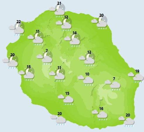 ILES SOEURS: Jeudi 07 Octobre 2021: soleil puis averses et pluies suivis d'une baisse des températures à la RÉUNION puis MAURICE