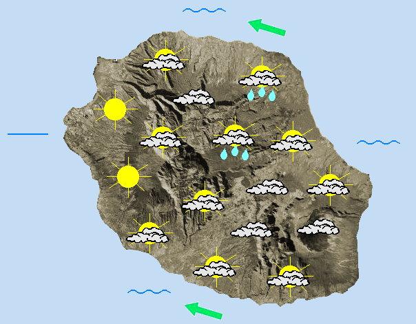 JOURNEE DU DIMANCHE 10  Alizé d'Est modéré.    Un début de journée assez nuageux dans l'Est avec quelques averses qui s'attardent en matinée du coté de la route des laves. Partout ailleurs, le soleil s'impose rapidement et le beau temps est bien présent. L'après midi, des nuages se développent le long des pentes et de rares averses se produisent à l'intérieur des terres, sans grande conséquence. Les cirques et une bonne partie de la frange littorale bénéficient de belles éclaircies. Une nouvelle aggravation pluvieuse est attendue sur la moitié Est de l'ile la nuit prochaine. Les températures maximales atteignent 25 à 27°C sur le littoral, 22 dans les cirques et 14 au volcan et au Maïdo. L'alizé reste soutenu avec des pointes à 60/70 km/h vers Saint Joseph, 50/60 km/h vers Sainte-Marie et proches de 50 km/h du coté de la plaine des Cafres. La mer est agitée à temporairement forte au sud en journée. La houle d'alizé approche les 2 mètres.
