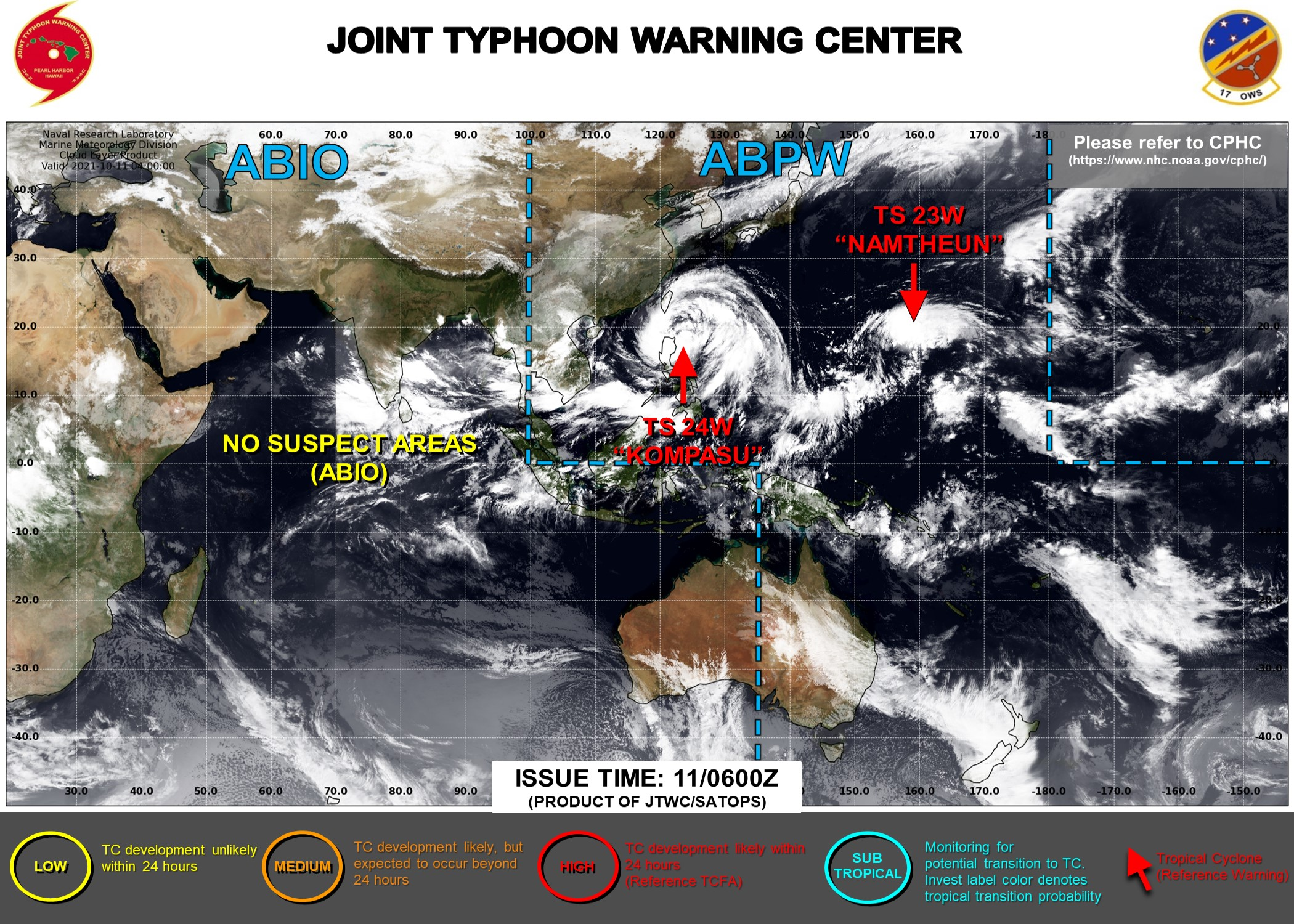 JTWC IS ISSUING 6 HOURLY WARNINGS AND 3HOURLY SATELLITE BULLETINS ON 23W AND 24W.