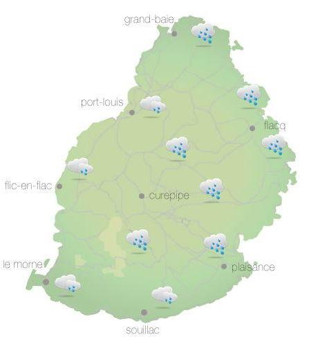 Bulletin prévision - Maurice  COMMUNIQUÉ DE LA MÉTÉO POUR MAURICE ÉMIS À 04H30 CE LUNDI 11 OCTOBRE 2021.     SITUATION GÉNÉRALE:  Des nuages associés à la ligne d'instabilité venant de l'Est continuent à influencer le temps local.    PRÉVISIONS POUR LES PROCHAINES 24 HEURES:  Nuageux ce matin avec des averses, plus fréquentes sur la partie Est de l'île et sur les hauteurs. Les averses pourraient être d'intensité modérée par moments. Le temps s'améliorera graduellement au cours de la journée. Des poches de brouillard sont aussi attendues dans certaines régions.  La température maximale sera de 22 à 24 degrés Celsius sur le plateau central et de 27 à 30 degrés Celsius sur le littoral.    Mi-couvert cette nuit avec quelques averses sur les hauteurs.  La température minimale variera entre 17 et 19 degrés Celsius sur les hauteurs et entre 20 et 23 degrés Celsius sur les régions côtières.    Le vent soufflera du secteur Est à environ 20 km/h.  Mer agitée au-delà des récifs avec des vagues de l'ordre de 2 mètres.     Marées Hautes : 14h55 et demain 05h35. Marées Basses : 09h22 et 22h46.     Lever du soleil       : 05h42  Coucher du soleil : 18h11.     La pression atmosphérique à 04h00 : 1017 hectoPascals.
