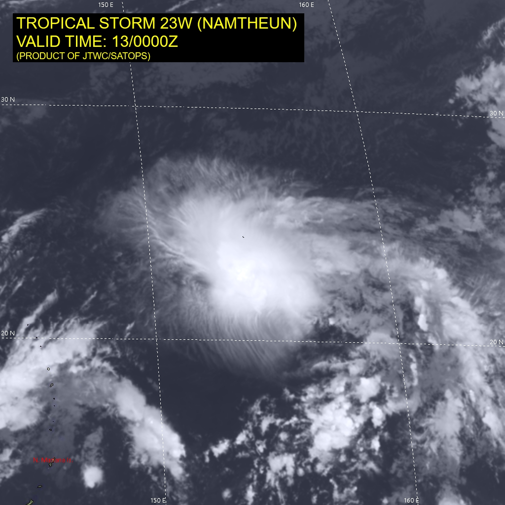 SATELLITE ANALYSIS, INITIAL POSITION AND INTENSITY DISCUSSION: WHILE TD 23W HAS STRUGGLED MIGHTILY AGAINST STRONG AND PERSISTENT SOUTHERLY SHEAR, IT APPEARS TO HAVE LOST THE BATTLE AND BEGUN THE SLOW DECLINE TO ITS ULTIMATE DEMISE. ANIMATED MULTISPECTRAL SATELLITE IMAGERY (MSI) REVEALS A SMALL AREA OF FLARING CONVECTION SHEARED TO THE NORTHEAST OF AN ELONGATED LOW LEVEL CIRCULATION CENTER (LLCC), THE WESTERN BANDS OF WHICH ARE EVIDENT IN THE CLEAR REGION WEST OF THE CIRRUS SHIELD. A 122132Z ASCAT-A PASS SHOWED THE LLCC BEGINNING TO STRETCH OUT ALONG A SOUTHWEST-NORTHEAST AXIS, AND EXTRAPOLATION OF THIS DATA, COMBINED WITH THE PARTIALLY EXPOSED LLCC IN THE VISIBLE IMAGERY, LENT HIGH CONFIDENCE TO THE INITIAL POSITION. THE AGENCY CURRENT INTENSITY ESTIMATES RANGED FROM 2.0 TO 2.5, WHICH ALIGNS CLOSELY WITH THE ADT ESTIMATE COMING IN RIGHT AT THE AVERAGE AT 32 KNOTS. THE PREVIOUSLY MENTIONED ASCAT CONFIRMED THE 30 KNOT INITIAL INTENSITY ESTIMATE, SHOWING A PATCH OF 30 KNOT WIND BARBS CONSTRAINED TO THE NORTHEAST SECTOR, UNDER THE FLARING CONVECTION. INTERESTINGLY, CIMSS SHEAR ANALYSIS INDICATES THE OVERALL SHEAR ENVIRONMENT HAS IMPROVED, WITH THE MEAN SHEAR MAGNITUDE NOW ESTIMATED AT 19 KNOTS. HOWEVER, LIKELY THIS IS TOO LOW, BASED ON THE SATELLITE DEPICTION. THE UPPER-LEVEL OUTFLOW HAS ALSO WEAKENED, RESULTING IN AN INCREASINGLY UNFAVORABLE ENVIRONMENT.