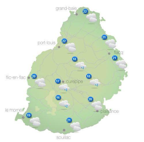 Bulletin prévision - Maurice  COMMUNIQUÉ DE LA MÉTÉO POUR MAURICE ÉMIS À 16H30 CE MERCREDI 13 OCTOBRE 2021.   SITUATION GÉNÉRALE:   Des nuages associés à la ligne d'instabilité qui influencent le temps local s'éloignent lentement vers l'Ouest.      PRÉVISIONS POUR LES PROCHAINES 24 HEURES:   Mi-couvert durant la première partie de la nuit devenant parfois nuageux sur les hauteurs avec quelques ondées. Il fera essentiellement beau par la suite.  La température minimale variera entre 16 et 18 degrés Celsius sur les hauteurs et entre 20 et 22 degrés Celsius sur le littoral.  Ensoleillé demain.  La température maximale variera entre 23 et 26 degrés Celsius sur le plateau central et entre 28 et 30 degrés Celsius les régions côtières.  Vent du secteur Est à environ 15 km/h, devenant léger et variable la nuit.   Mer agitée avec des houles du Sud-Ouest de l'ordre de 2 mètres au-délà des récifs.     Marées Hautes :  Demain 10h54 et 22h07.  Marées Basses : Demain 03h21 et 17h13.     Lever du soleil (Demain) : 05h40.  Coucher du soleil (Demain) : 18h12.     La pression atmosphérique à 16h00 : 1018 hectoPascals.
