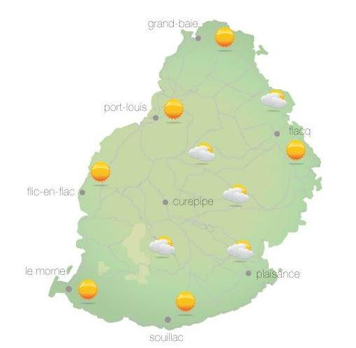 Bulletin prévision - Maurice  COMMUNIQUÉ DE LA MÉTÉO POUR MAURICE ÉMIS À 04H30 CE JEUDI 14 OCTOBRE 2021.     SITUATION GÉNÉRALE: Un courant d'air modéré s'établira graduellement sur notre région.  PRÉVISIONS POUR LES PROCHAINES 24 HEURES: Ciel mi-couvert tôt ce matin. Ensoleillé au cours de la journée.  La température maximale variera entre 24 et 26 degrés Celsius sur le plateau central et entre 28 et 31 degrés Celsius les régions côtières.  Le temps sera beau cette nuit.  La température minimale variera entre 16 et 18 degrés Celsius sur les hauteurs et entre 20 et 23 degrés Celsius sur le littoral.  Vent du secteur Est à environ 15 km/h, se renforçant au cours de la journée.   Mer agitée avec des houles du Sud-Ouest de l'ordre de 2 mètres au-delà des récifs.     Marées Hautes : 10h54 et 22h07.  Marées Basses   : 17h13 et demain 04h25.     Lever du soleil     : 05h40.  Coucher du soleil : 18h12.     La pression atmosphérique à 04h00 : 1019 hectoPascals.