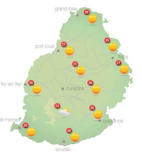 ILES SOEURS: Jeudi 14 Octobre 2021: les prévisions du temps pour MAURICE et la RÉUNION