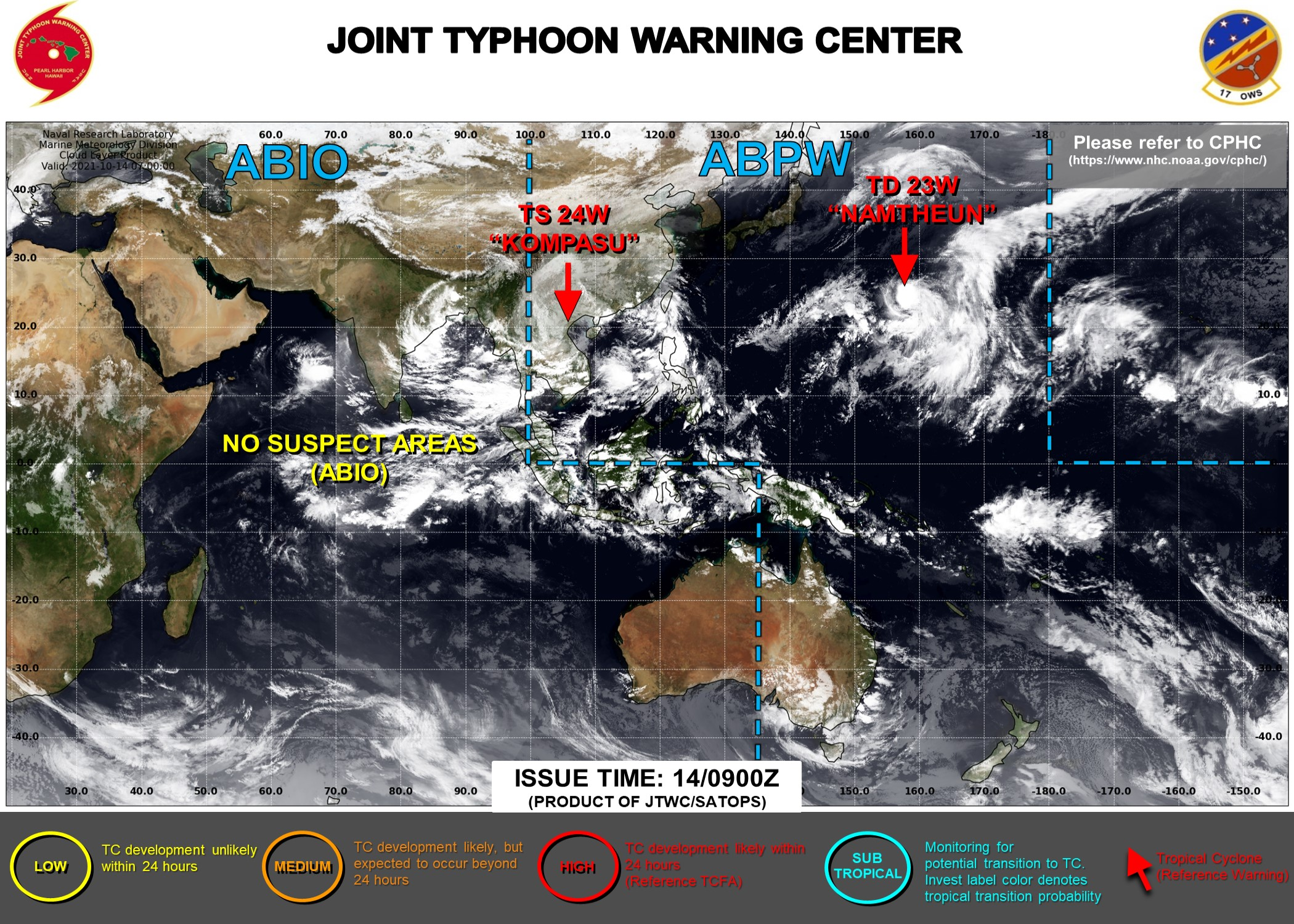 JTWC IS ISSUING 6HOURLY WARNINGS ON TD 23W. FINAL WARNING ON TD 24W WAS ISSUED AT 14/09UTC. 3 HOURLY SATELLITE BULLETINS ARE ISSUED ON BOTH SYSTEMS.