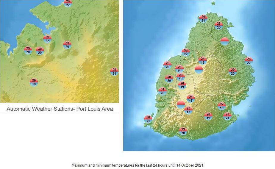 Météo ILES SOEURS: prévisions du temps pour le Vendredi 15 Octobre 2021 pour MAURICE et la RÉUNION