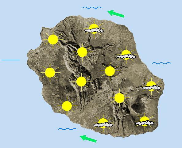 JOURNEE DU VENDREDI 15  Alizé devenant modéré à assez fort dans une masse d'air qui poursuit son assèchement.  Nous profitons d'une matinée bien ensoleillée. En mi-journée, avec l'évolution diurne, des cumulus se forment aux flancs des remparts et dans ces cirques. L'après-midi, ces nuages s'épaississent et glissent vers les hauteurs de la Possession, de Saint-Paul et sur le Port. Des averses faibles et peu significatives sont alors possibles dans ce secteur. Ailleurs, les périodes ensoleillées alternent avec les passages nuageux jusqu'en fin de journée. Les températures maximales restent très douces et oscillent entre 26 à 28°C sur le littoral, entre 22 et 24°C dans les cirques et entre 17 à 18°C au Maïdo ou au volcan. L'alizé se renforce avec des rafales avoisinant 70 km/h sur la côte Sud, entre Saint-Joseph et Saint-Louis notamment. Les bourrasques sont moindres sur la côte Nord,  avec des valeurs voisines de 50  km/h prévues vers Sainte-Marie. La mer est agitée au vent. La houle australe continue de s'amortir et s'approche de 1 mètre 50 en journée.