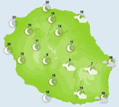 Météo ILES SOEURS: prévisions du temps pour ce Vendredi 15 Octobre 2021 pour MAURICE et la RÉUNION