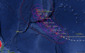 03UTC: WUTIP(02W) now a typhoon, forecast to reach Category 3 US in 36hours while approaching Guam