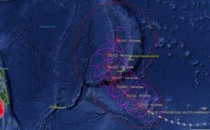 15UTC: typhoon Wutip(02W) Category 2 US, intensifying and approaching Guam