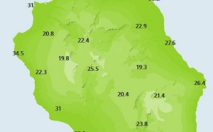 La station de la Pointe des 3 Bassins affiche une température sous abri de 34.5°c à 11heures...