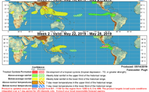 Philippines: below average rainfall still forecast next two weeks. No TC development forecast for the West Pacific and the Indian Ocean