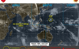 INVEST 93W is on the map east of Guam but is forecast to dissipate while tracking northward