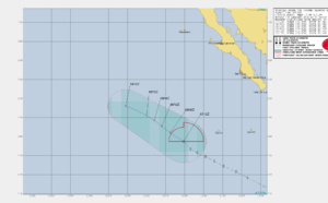 COSME(03E) is a weak and sheared system, intensity is forecast to fall below 35knots within 12hours
