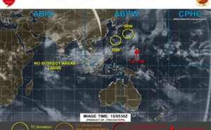 17W forecast to dissipate in 48h. Invest 95W: downgraded to Low