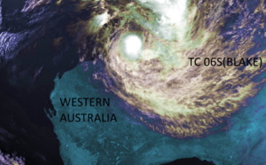 TC 06S(BLAKE) tracking close to the coastline of WA with welcome rainfall