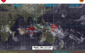 SHEM: 23P(NIRAN) forecast to peak as a strong US/Cat 3 in 36h, 22S(MARIAN) is weakening. Invest 90S now on the map, 03/15utc updates
