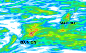 ILES SOEURS: de la pluie en abondance -localement- ces dernières 24heures à MAURICE et à la RÉUNION, tendances des prochaines heures