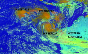 SIndian: 27S(ODETTE) rotates around 26S(SEROJA) which will absorb it by 48hours while intensifying. Invests 91S and 92P still monitored closely, 09/09utc update