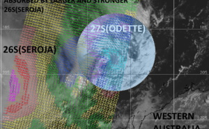 27S(ODETTE) being absorbed in 26S(SEROJA). 26S will be approaching Geraldton(WA) after 24hours. Invest 92P: 30knot system, 10/03utc update