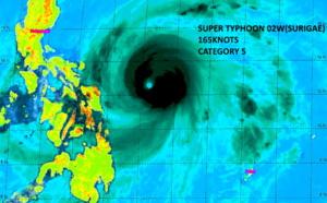 Super TY 02W(SURIGAE): extreme peak intensity of 165knots(CAT 5): strongest April Super Typhoon since (at least) 1959, 18/03utc update