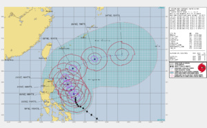Western North Pacific: TY 02W(SURIGAE) is still a powerful CAT 4 and slow-moving, forecast to weaken more rapidly after 48hours, 19/21utc update