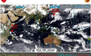 24/09utc update: former STY 02W(SURIGAE) now subtropical, Invest 96P subtropical over the South Pacific, new burst of convection for 29S(JOBO) SE of Dar es Salaam