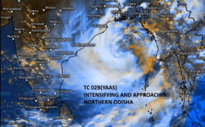 BAY OF BENGAL: TC 02B named YAAS, will be intensifying significantly next 48hours and is expected to make landfall over Northern Odisha shortly after 48h, 24/09utc update