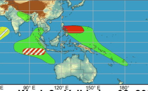 """2 week cyclonic development potential: """"Multiple TCs are likely to develop over the West Pacific during the next two weeks"""", 25/1730utc update"""
