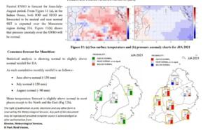 MAURICE. Les prévisions établies en Mai pour le trimestre suivant avançaient des quantités de pluies supérieures à la normale en Juin et proches de la normale en Juillet/Août. Les données de Juin confortent ces prévisions. MMS/Vacoas.