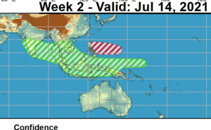2 week cyclonic development potential: Western North Pacific: week 2 forecast to become more favourable for cyclone development, 06/19utc