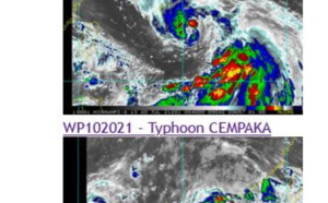 Western Pacific: 10W(CEMPAKA) has reached Typhoon/CAT 1 Southwest of Hong Kong, 09W(IN-FA) near Typhoon intensity and intensifying, 20/03utc updates